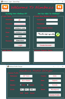 Nimbuzz: Nimbuzz Connect in C# with Chatroom, Captchas Loading, Profile Changer, etc. Sarjhe13