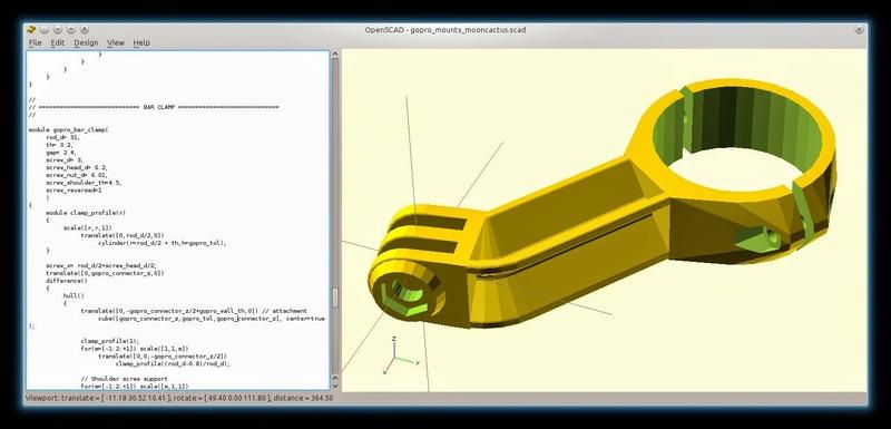 modélisation paramétrique sous Openscad Gopro-10