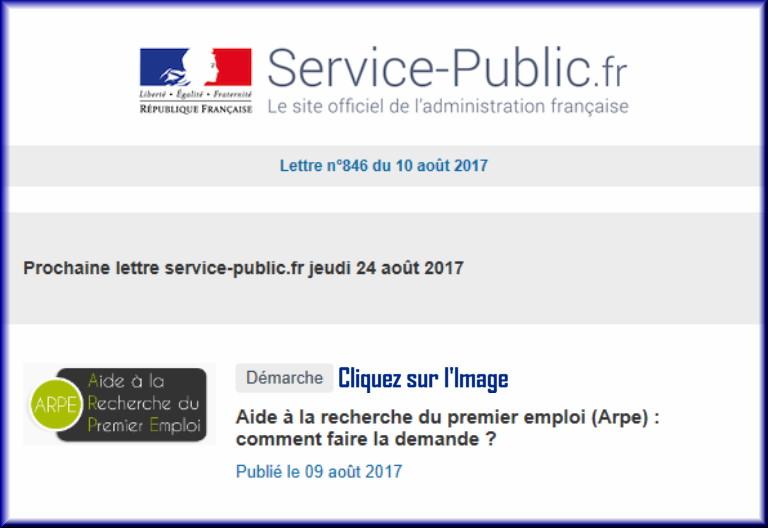 """La lettre N° 846 de """"Service Public"""" pour le 10 Août 2017 84610"""