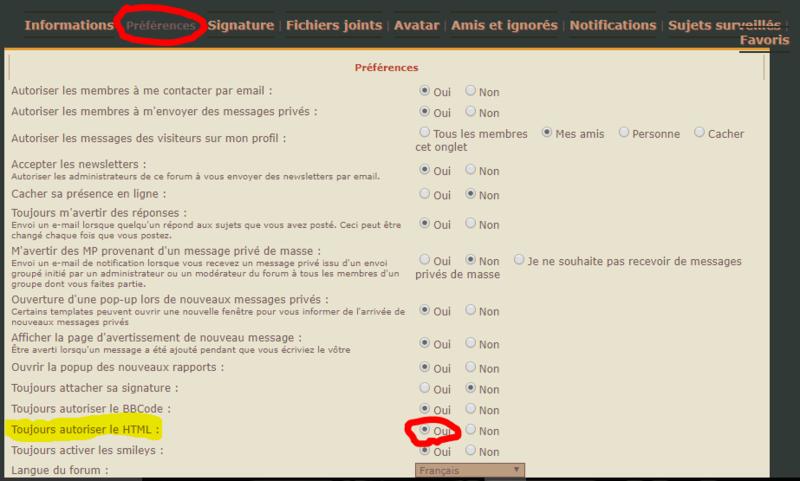 | COMMENT ACTIVER HTML | Captur11