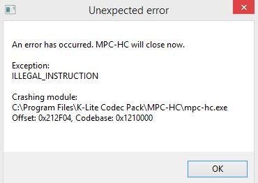 Codec pack 13.4.5 broke assfilter Captur10
