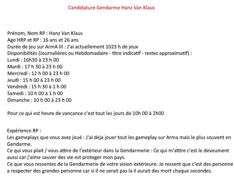 [GENDARME] Candidature Hanz Van Klaus Gendar11