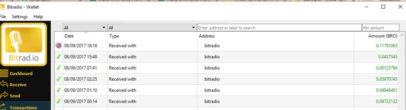 [Testar] BitRad - Ganhar moedas BRO escutando rádio! Wallet10