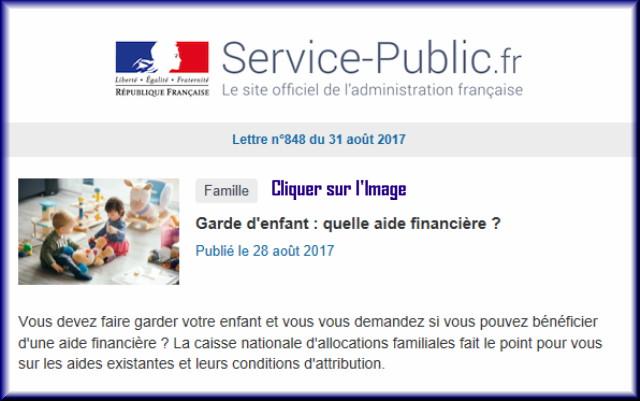 """La lettre N° 848 de """"Service Public"""" pour le 31 Août 2017 84810"""