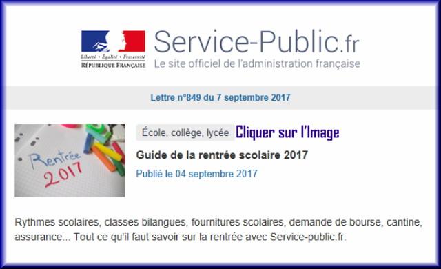 """La lettre N° 849 de """"Service Public"""" pour le 07 Septembre 2017 84910"""