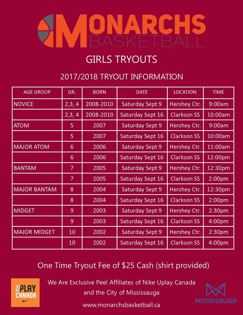 Mississauga Monarchs Tryouts Begin Today 312