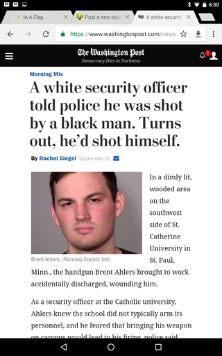 A white security officer told police he was shot by a black man. Turns out, he'd shot himself Screen19