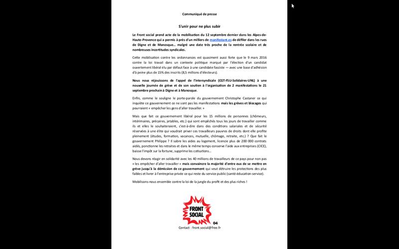 Communiqué du Front social - S'unir pour ne plus subir 2 manifestations 21 septembre à Manosque et à Digne  Captur11