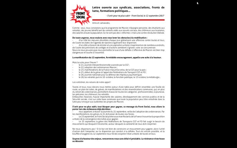 Communiqué du Front social - S'unir pour ne plus subir 2 manifestations 21 septembre à Manosque et à Digne  Captur12