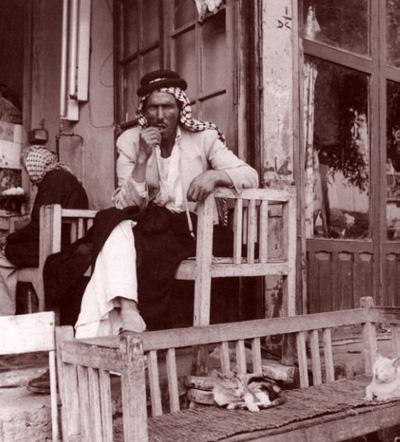 أحد الرجال يجلس في مقهى بغدادي (حتى القطط كانت أليفة  أيام زمان  ) _oo_ao10