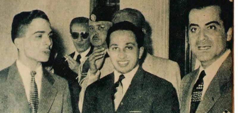 الملك فيصل في زواج الملك حسين ويقف الى جانبهما ملك العود الفنان فريد الاطرش Oood_i12