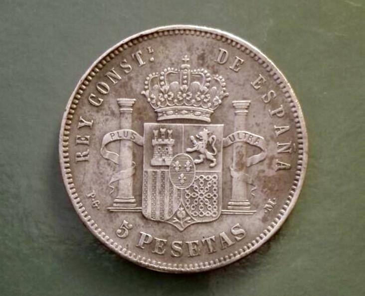 1893 5 Alfonso XIII 5 pesetas - estrellas 18* 93* PG - M Img_6516
