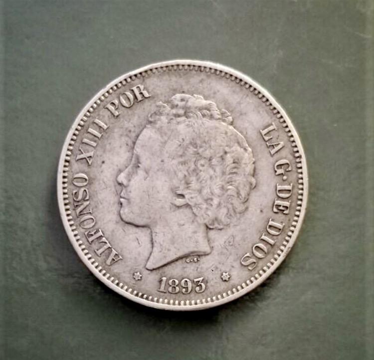 1893 5 Alfonso XIII 5 pesetas - estrellas 18* 93* PG - M Img_6517