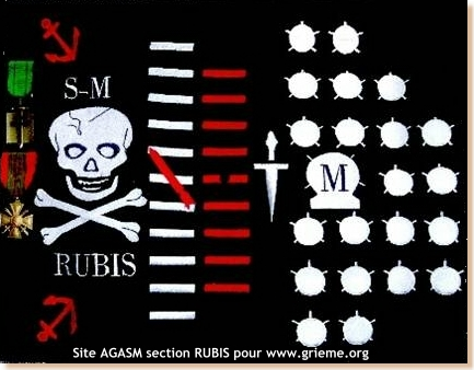 Les Jolly Rogers - Drapeaux de Pirates des Sous-Marins Britanniques Rubis210