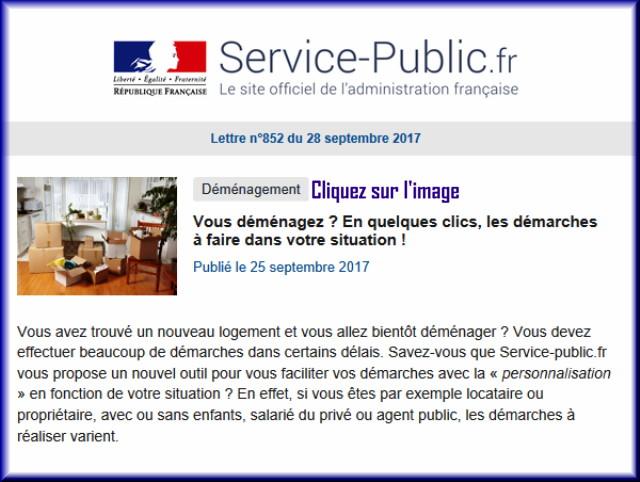 """La lettre N° 852 de """"Service Public"""" pour le 28 Septembre 2017 85212"""
