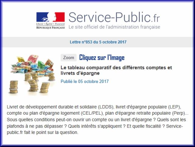 """La lettre N° 853 de """"Service Public"""" pour le 05 Octobre 2017 85310"""
