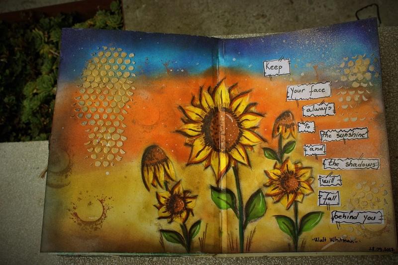 """Provocare Art Journaling septembrie: """"Floarea soarelui"""" - Maria Oprea Andree10"""