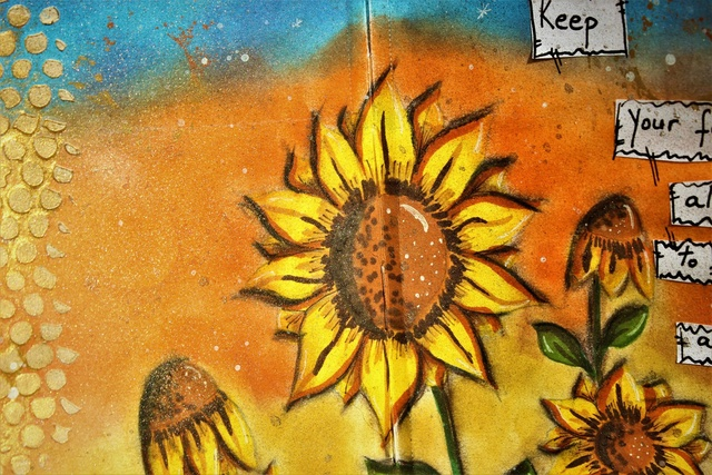 """Provocare Art Journaling septembrie: """"Floarea soarelui"""" - Maria Oprea Andree12"""
