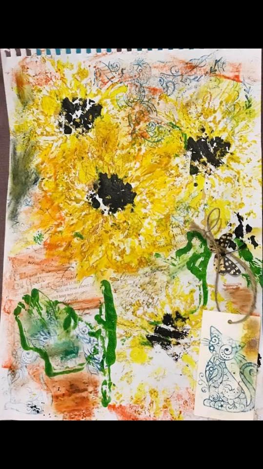"""Provocare Art Journaling septembrie: """"Floarea soarelui"""" - Maria Oprea Elena_11"""