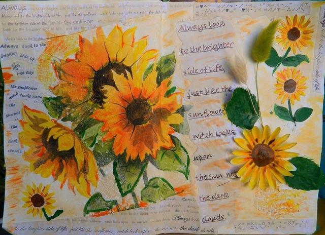 """Provocare Art Journaling septembrie: """"Floarea soarelui"""" - Maria Oprea Ileana10"""