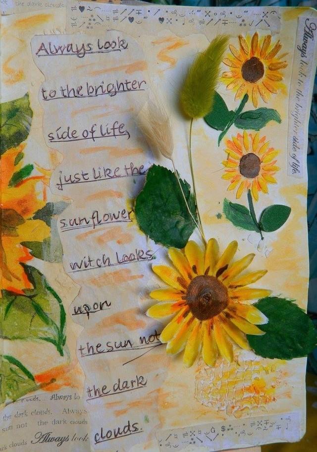 """Provocare Art Journaling septembrie: """"Floarea soarelui"""" - Maria Oprea Ileana11"""