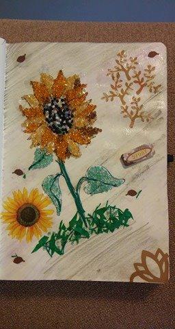 """Provocare Art Journaling septembrie: """"Floarea soarelui"""" - Maria Oprea Izsabe11"""