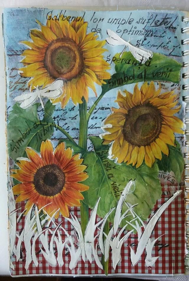 """Provocare Art Journaling septembrie: """"Floarea soarelui"""" - Maria Oprea Maria_10"""
