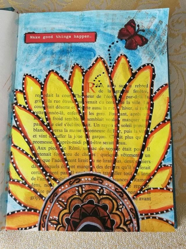"""Provocare Art Journaling septembrie: """"Floarea soarelui"""" - Maria Oprea Mihael10"""