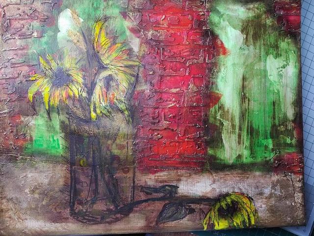 """Provocare Art Journaling septembrie: """"Floarea soarelui"""" - Maria Oprea Monica10"""