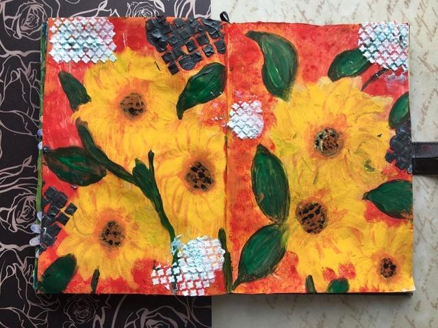 """Provocare Art Journaling septembrie: """"Floarea soarelui"""" - Maria Oprea Tulip_10"""