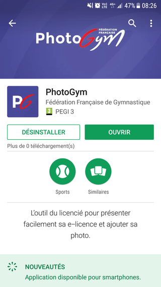 Présentation de la e-licence FFGym avec photo : application PhotoGym Playst10