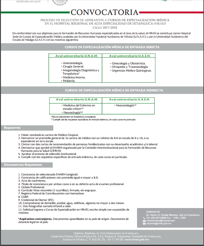 Convocatoria Hospital Regional de Alta Especialidad de Ixtapaluca - Página 8 Convih10