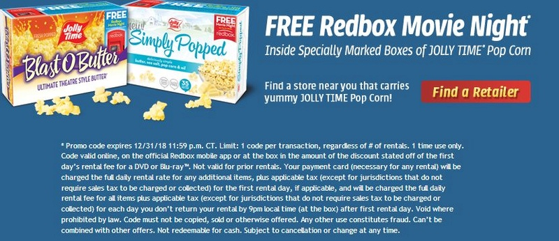 Codes in Jolly Time Popcorn Redbox10