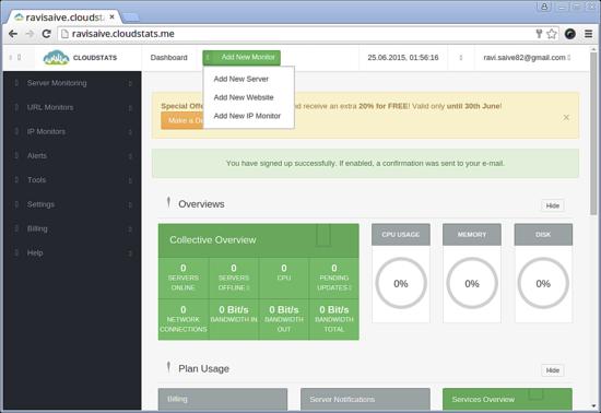 Monitorizar o servidor com o CloudStats 210