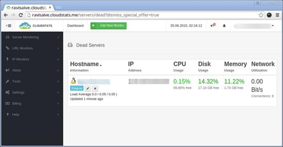 Monitorizar o servidor com o CloudStats 610
