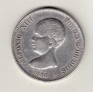 5 pesetas Alfonso XIII, MSM, 1888 Moneda10