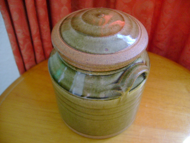 Unsigned stoneware lidded pot. Dsc06813