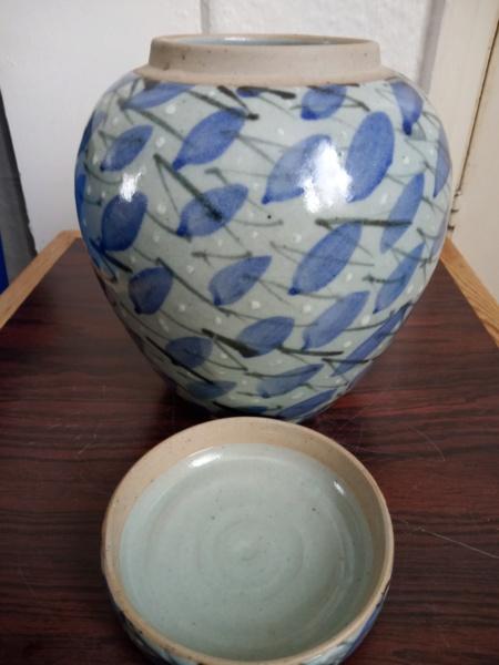 Lidded stoneware jar for ID - Paul Muchan?  Img_2439
