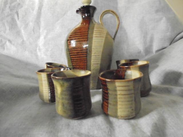 Crown Lynn cup, wine jug and sips, lidded pot Dsc03824