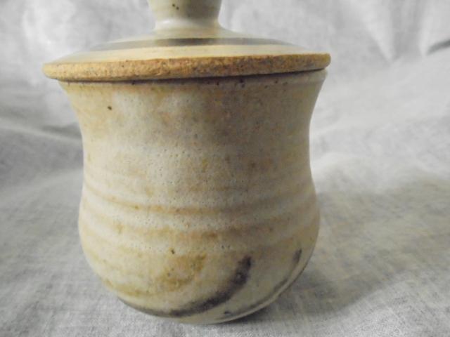 Crown Lynn cup, wine jug and sips, lidded pot Dsc03825