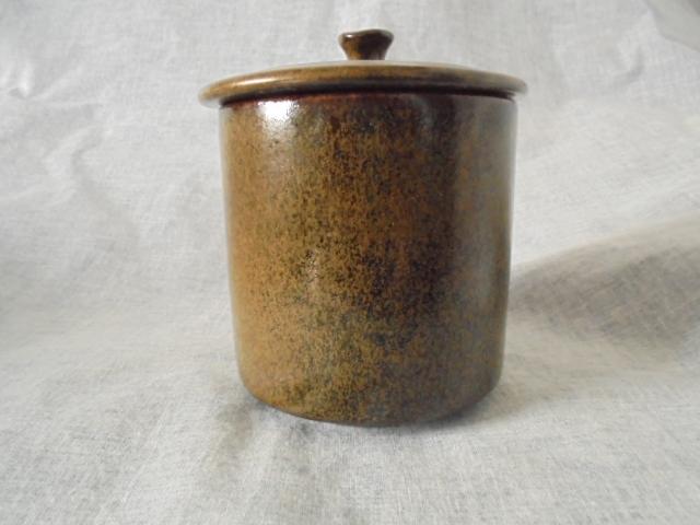 Crown Lynn cup, wine jug and sips, lidded pot Dsc04416