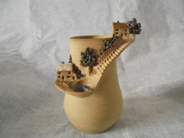 Crown Lynn cup, wine jug and sips, lidded pot Dsc04427