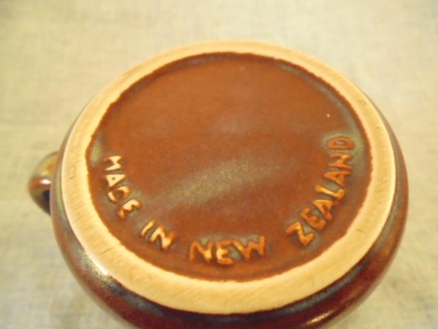 Crown Lynn cup, wine jug and sips, lidded pot Dsc04736