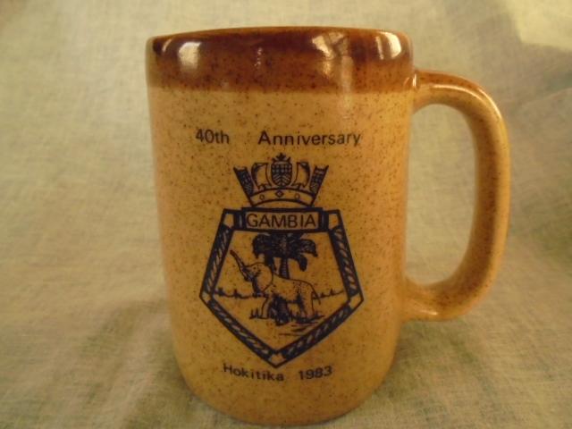 Crown Lynn cup, wine jug and sips, lidded pot Dsc04737