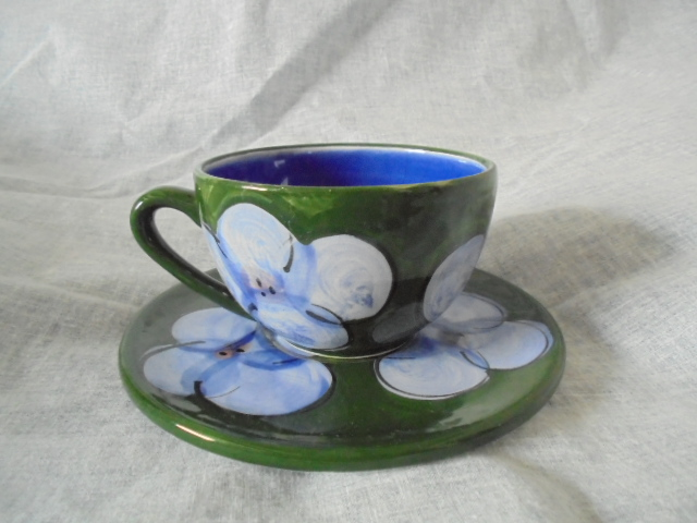 Christine Harris Green and pink floral teacup Dsc04749