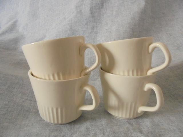 Crown Lynn cup, wine jug and sips, lidded pot Dsc04810
