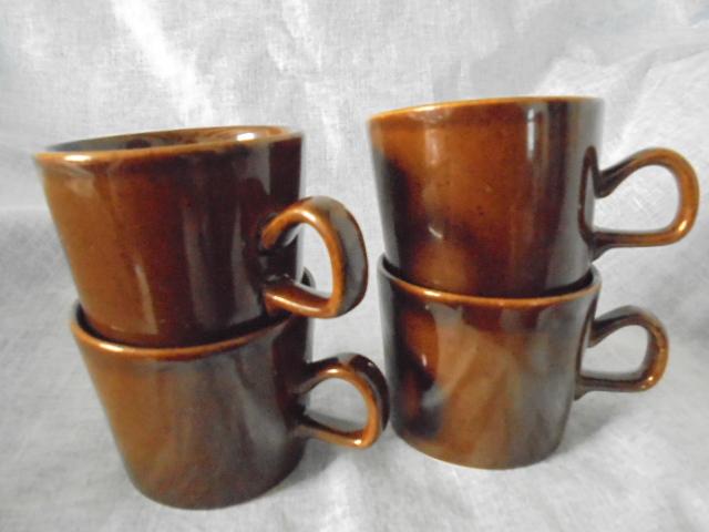 Crown Lynn cup, wine jug and sips, lidded pot Dsc05110