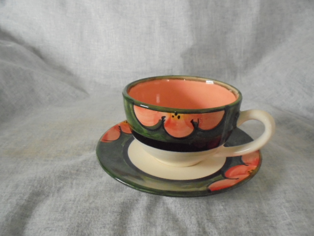 Christine Harris Green and pink floral teacup Dsc05610