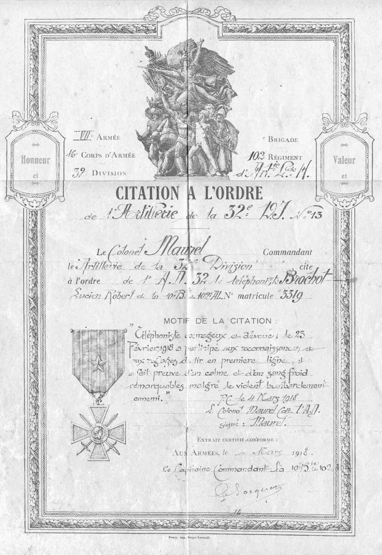 Mon Grand-Père Lucien Brochot Téléphoniste aux 5ème RAP puis 102ème RAL (14-18) Citati10