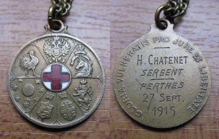 Médaillette Commémorative à la Gloire des Blessés éditée par la Croix Rouge Mzodai38